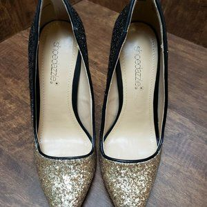 "Black & Gold Glitter SHOEDAZZLE 4.5"" Point Toe 6.5"